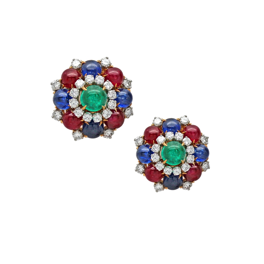 Vintage 1960's Bulgari Multi Gemstone & Diamond Earclips.