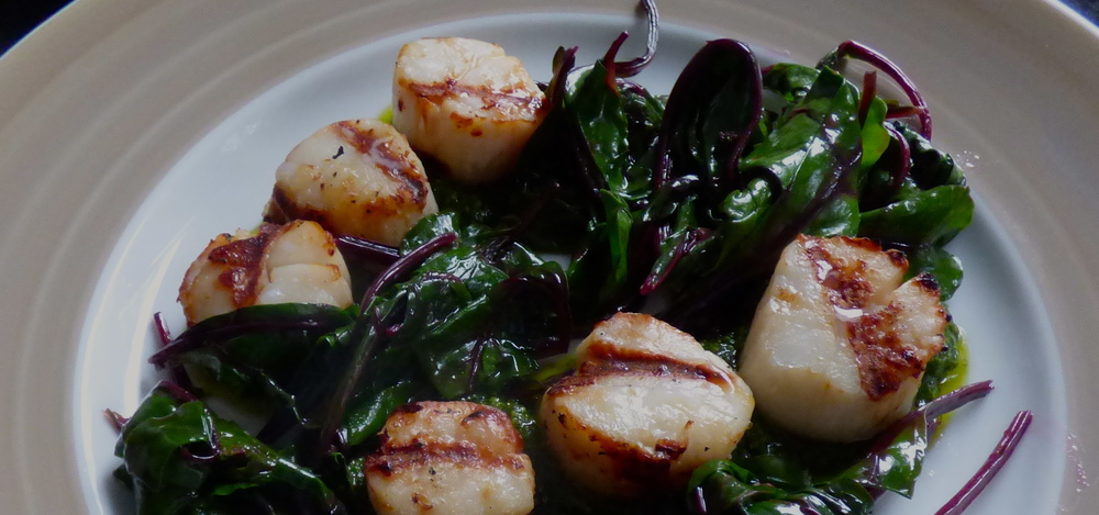 GRILLED SCALLOPS WITH CILANTRO PESTO AND WILTED BEET GREENS