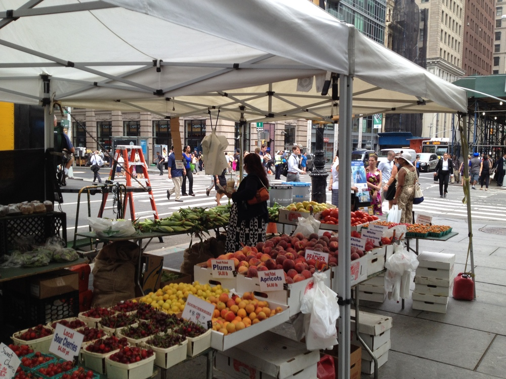 City Hall Farmers Market:http://www.grownyc.org/greenmarket