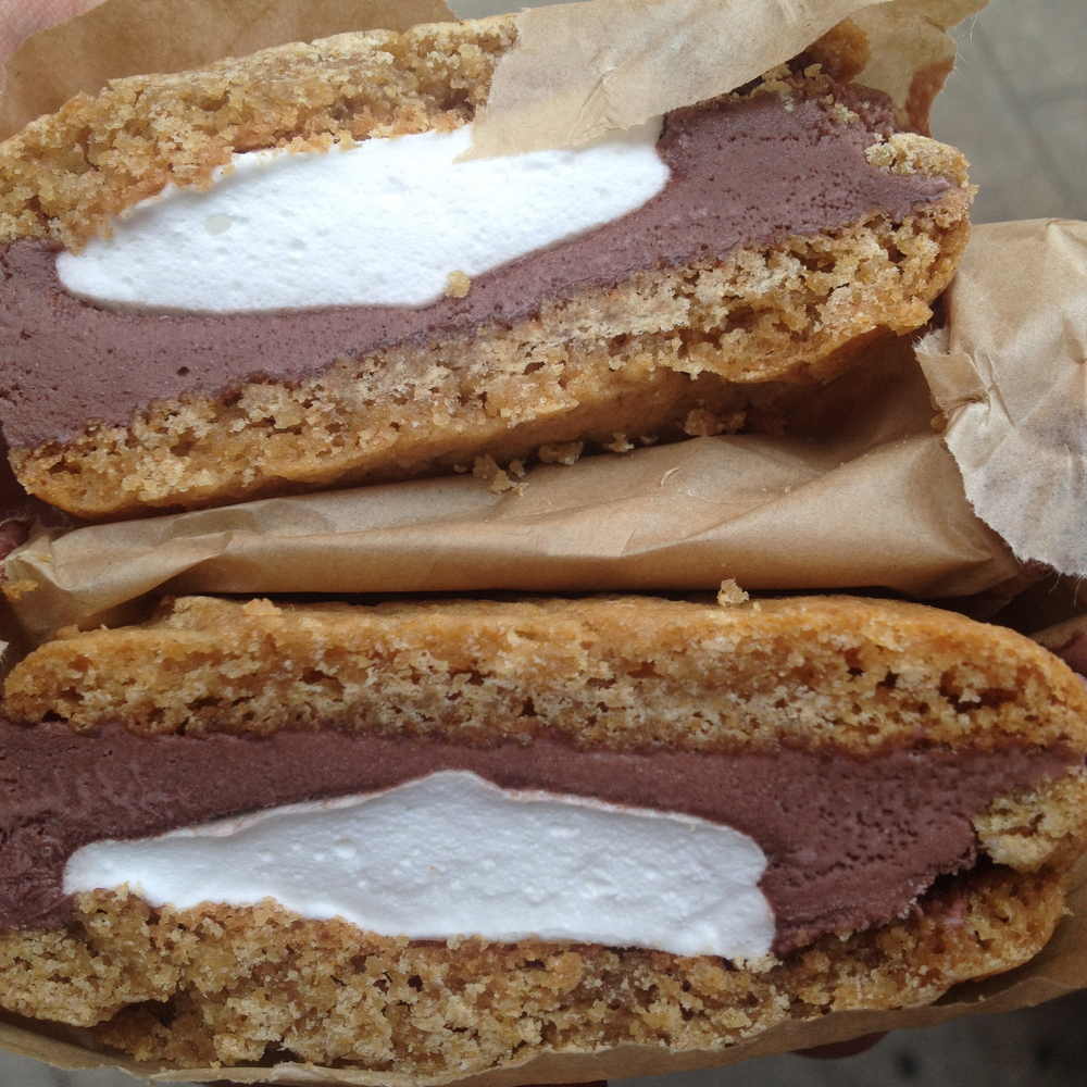 THE S'MORE ICE CREAM SANDWICH AT MELT BAKERY NYC.  GRAHAM CRACKER COOKIES WITH CHOCOLATE MARSHMALLOW ICE CREAM