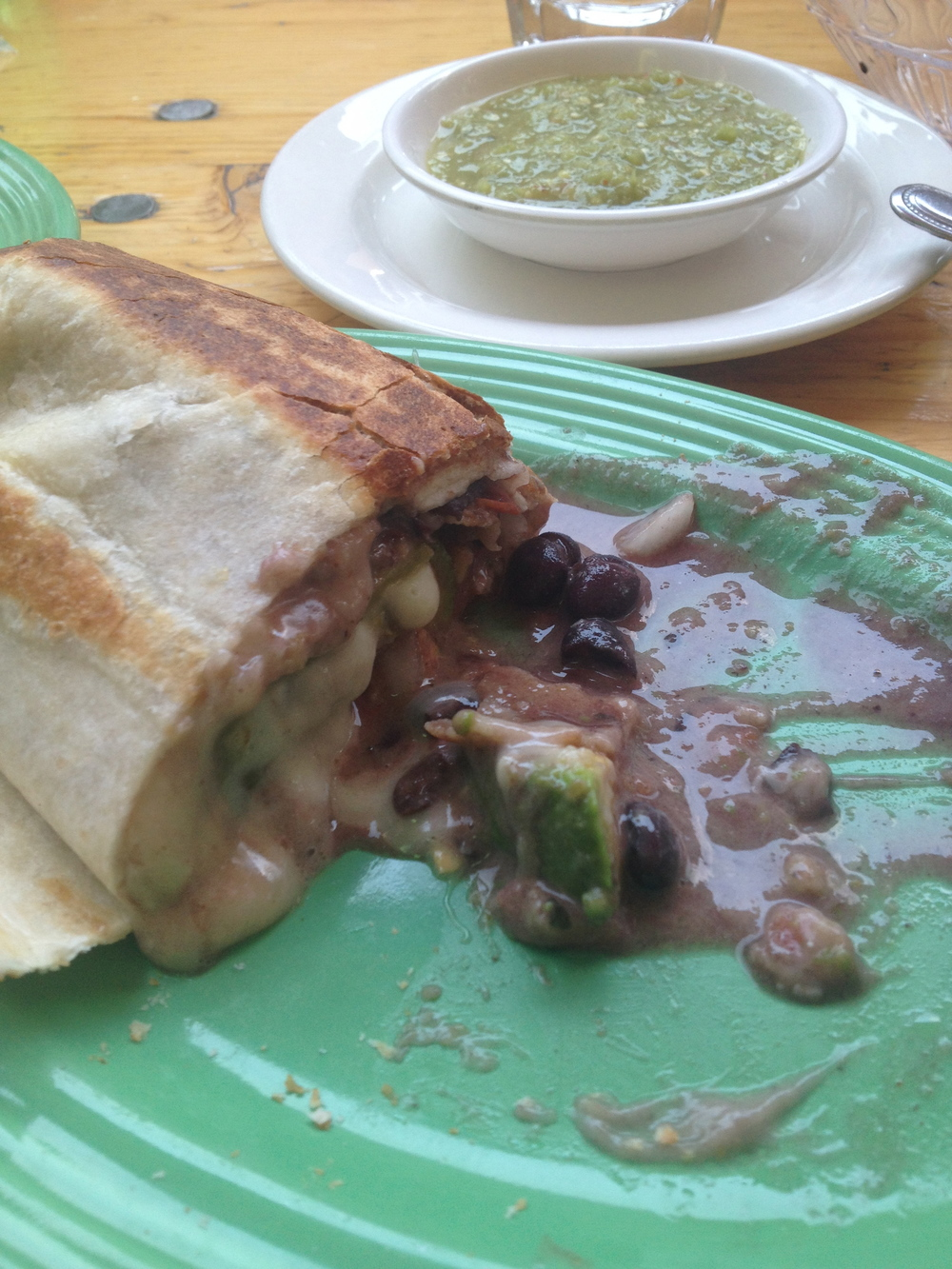 THE ENCHILADA BURRITO WITH TOMATILLO SALSA AT MISSION CANTINA NYC