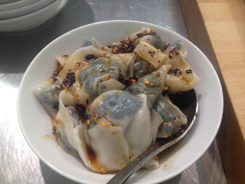 Spinach & Mushroom Dumplings with Spicy Soy & Vinegar Sauce
