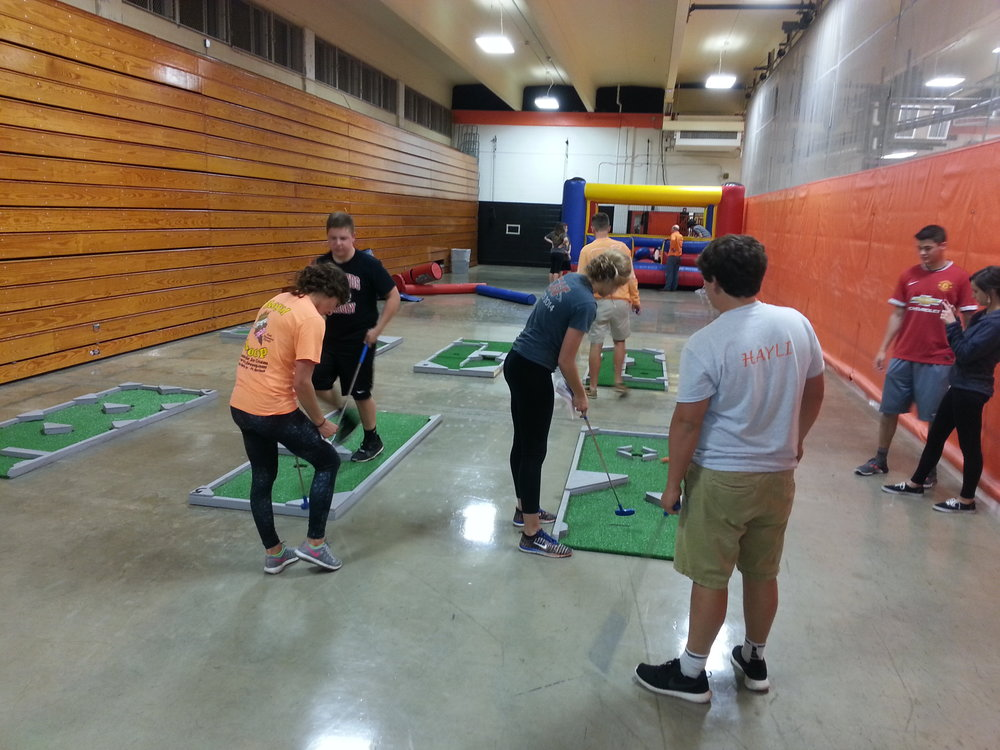 Mini Golf at a high school post prom