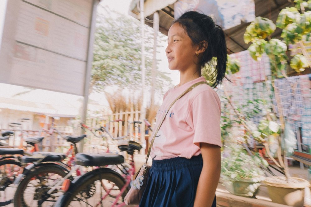 Student leaving the EASEL School, an informal school in rural Poipet, a border city between Thailand and Cambodia.