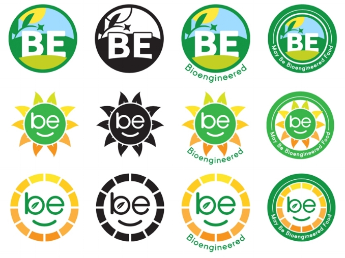 "USDA's proposed GMO or ""Bioengineered (BE) symbols include scenes of nature and a smiling sun, intimating that GMOs are healthy and environmentally friendly."