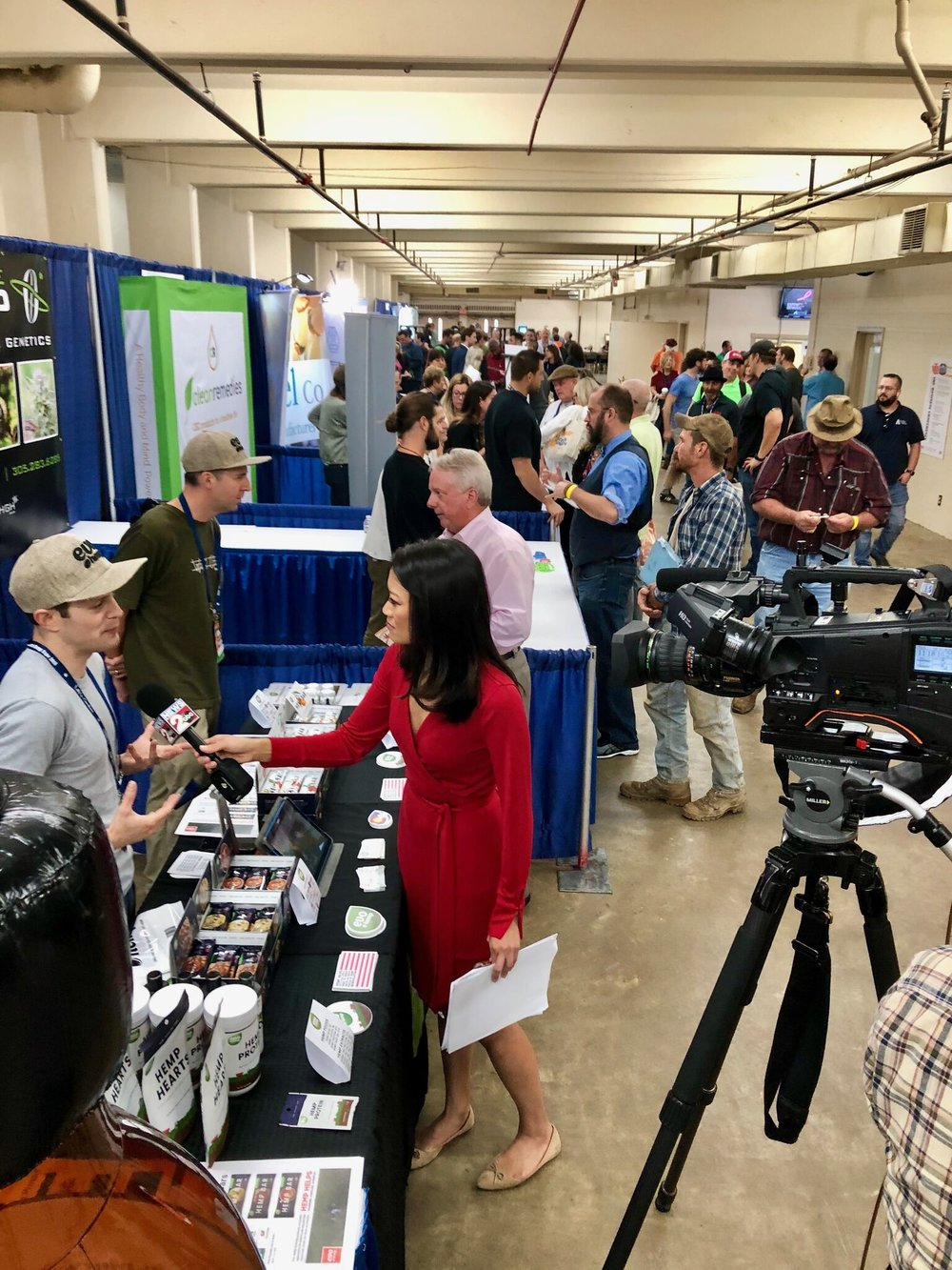 Ari Sherman of Evo Hemp is interviewed by Linda Ong at ABC 2 News in one of the many buzzing exhibition halls.