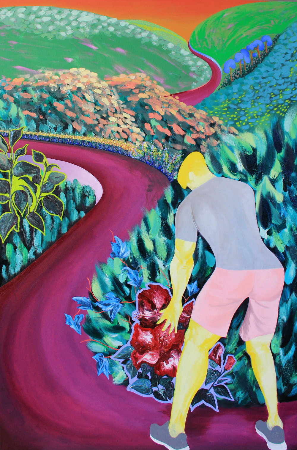"I Shouldn't Be Here Ⅱ - 72 x 48 in., oil on stretched canvas2018In this piece, the artist captures her husband's sudden exuberance upon seeing flowers along a path. His animated display of hysterical wonder stands contrary to the idea that men shouldn't show strong positive emotions. Placed in relation to ""I Shouldn't Be Here"", the pair of works begin to offer a broader view of masculinity. The second figure in the composition is the other person on the path, the unseen viewer. This is where the artist stands, looking beyond to the unknown path. She at once commits to the journey ahead while acknowledging the lack of Asian American women represented in her chosen life path."