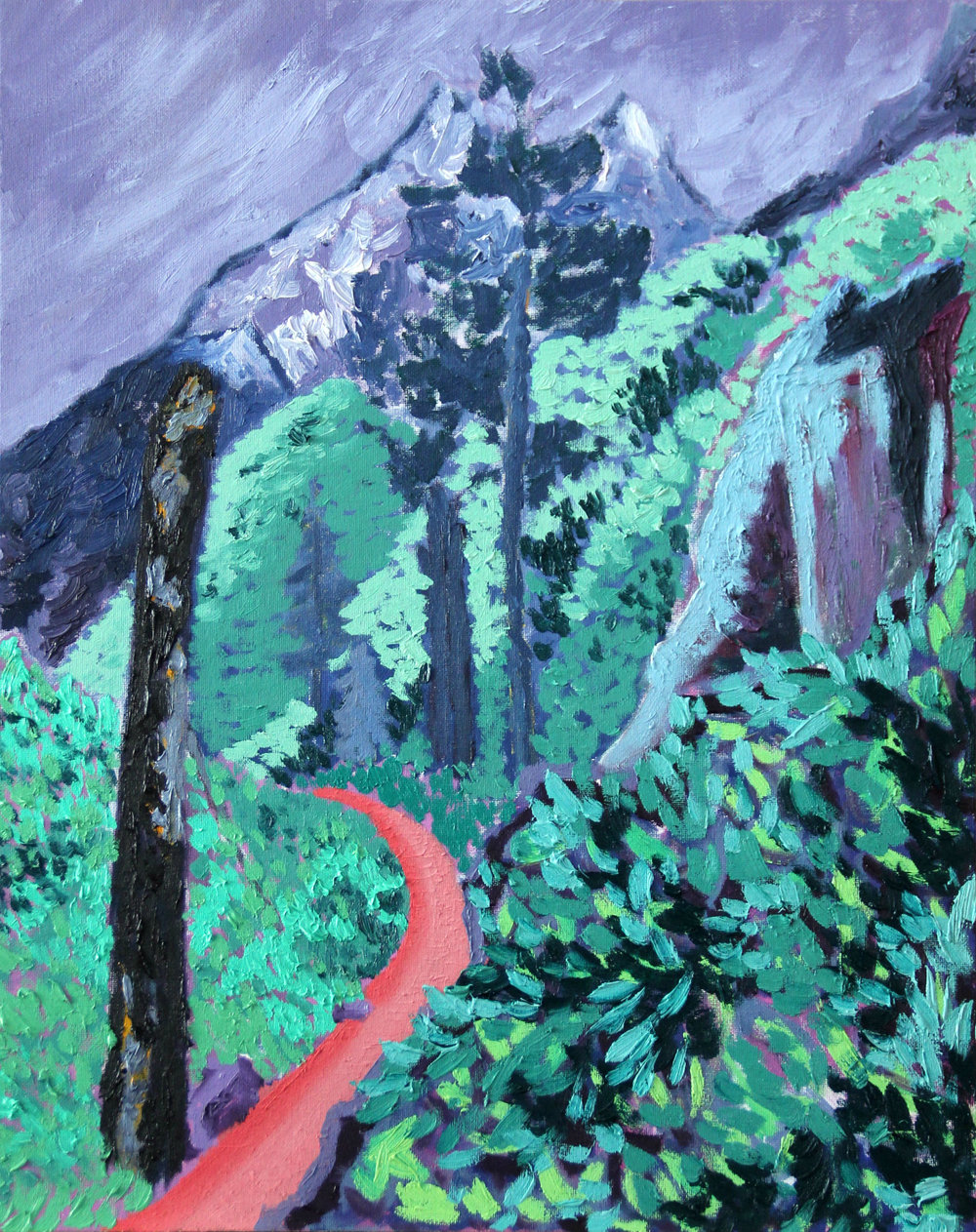 "First, Look Back - 20 x 16 in., oil on canvas panel2017This view from the north-west side of Jenny Lake in Grand Teton National Park is seen while looking back and hiking away from the mountain range. In this easily overlooked experience, the realization of what has been traversed to reach this present moment comes into view. The title is the phrase the artist declared to the rest of the group on the trail at this time. This work, ""First, Look Back"" is accompanied by its immediate successor ""First Look Back""."