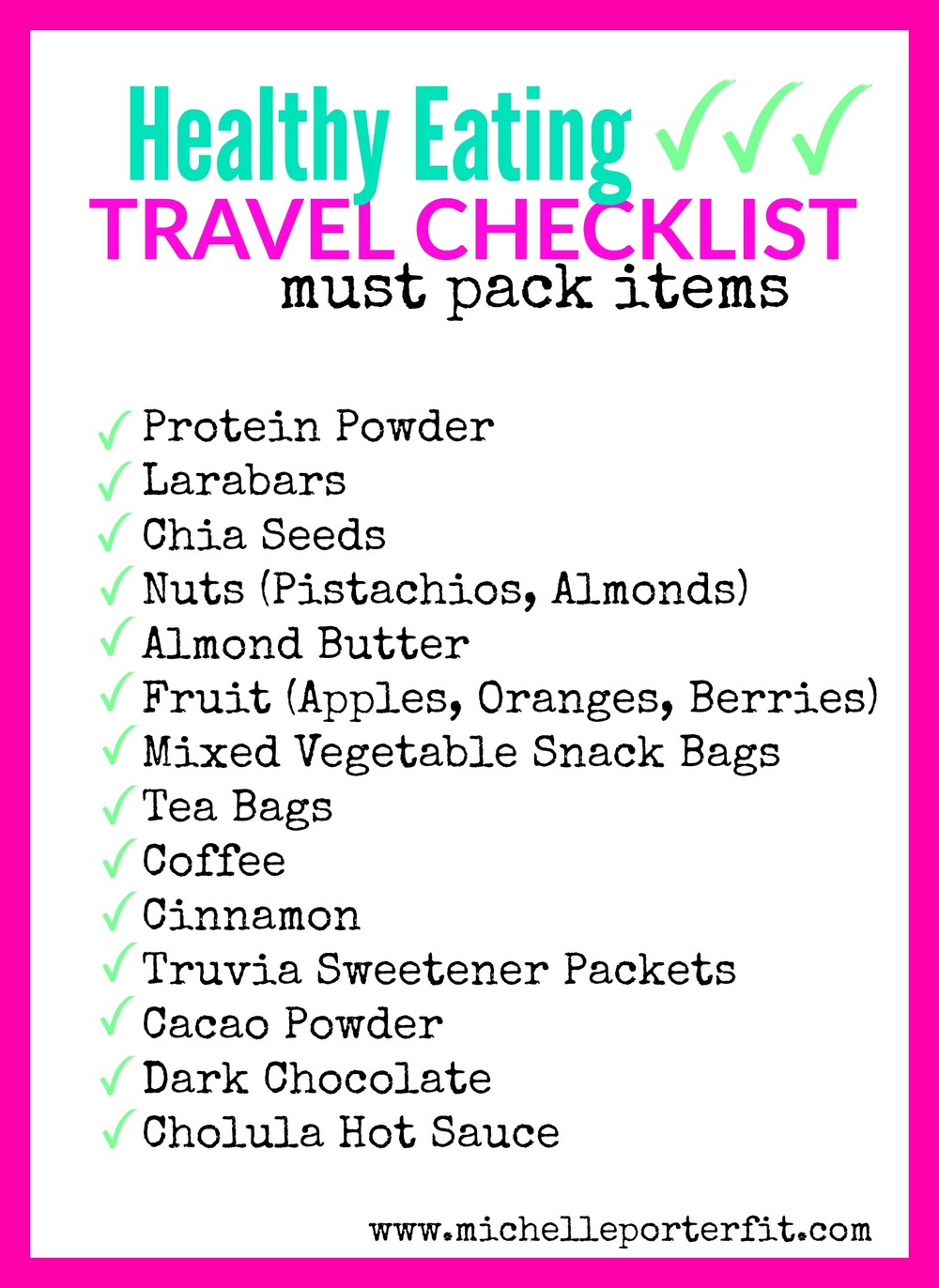 healthy eating travel checklist