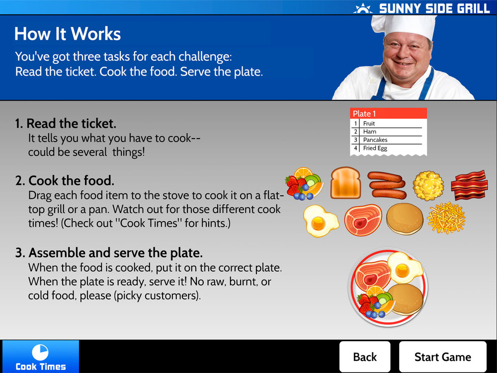 The head chef explains the rules at the start of the game, and offers a few hints!