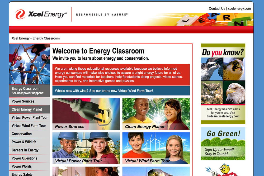 "Energy Classroom uses a visual menu at the home page. In the right column, ""Do You Know?"" facts are randomly presented when a page reloads."