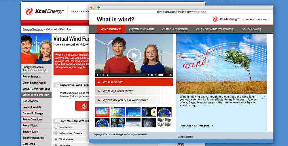 The Wind Farm Tour is available in the Wind Farm page in Energy Classroom. It features two enthusiastic hosts who visit the wind farm with you.