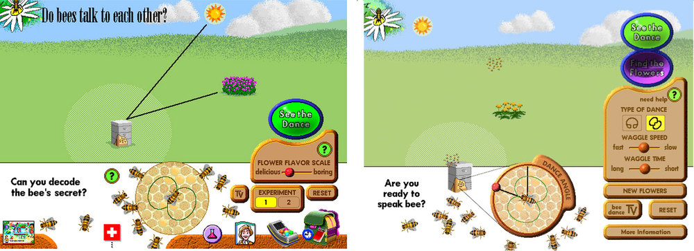 """This interaction models how bees use the """"waggle dance"""" to communicate. As in many interactions within """"What's The Secret?"""", this interaction offers two views of the same concept. You can position the sun and flowers to see how the bee will dance. Or you can control the bee's dance to see if you can correctly send the other bees to the flowers."""