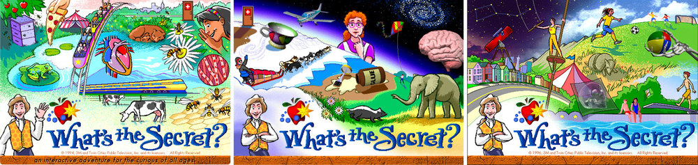 The home page for each volume featured an illustrated collage to represent its main topics. Each part animated, and linked the user to its related topic.