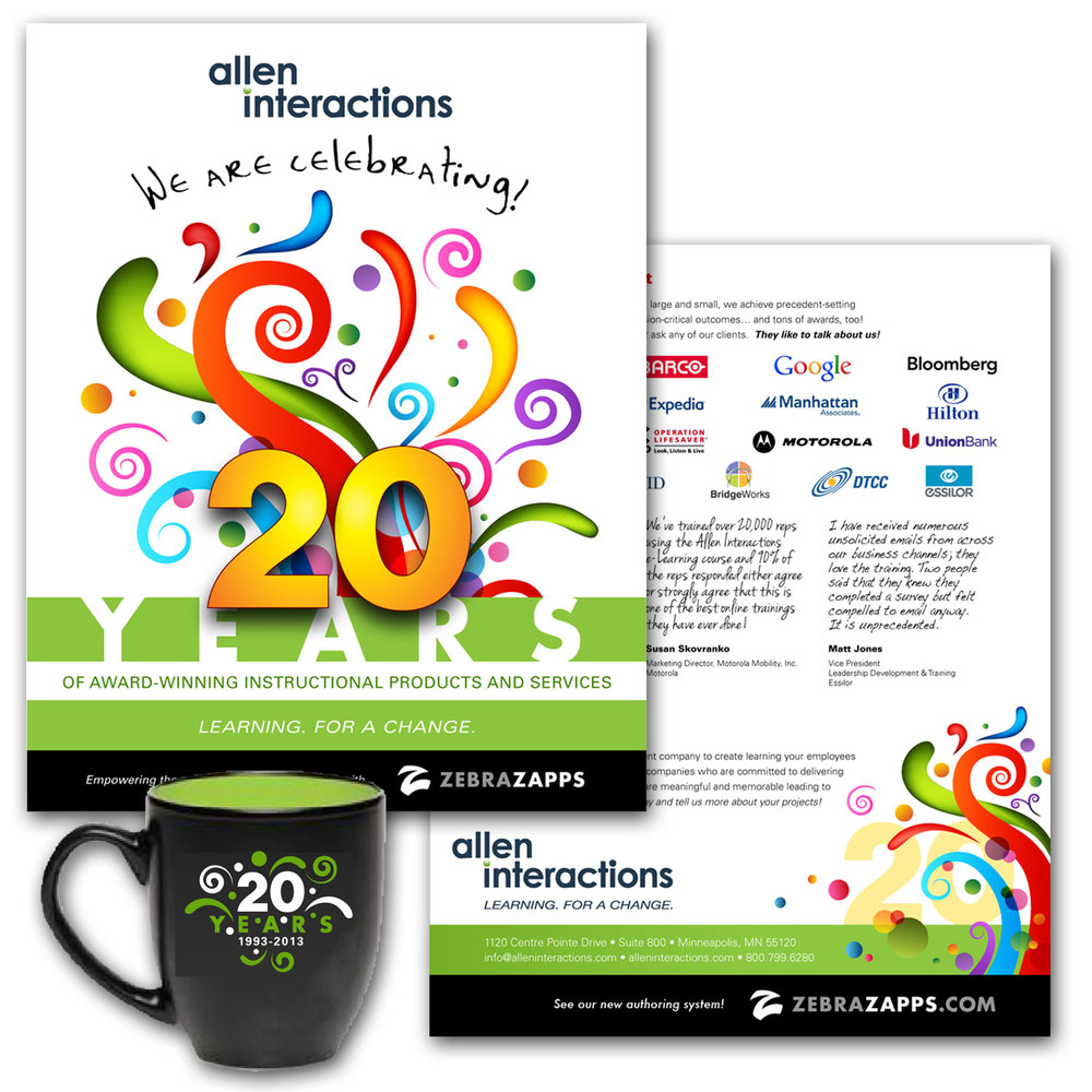 We are Celebrating!   Allen Interactions     This promotional brochure celebrated the 20th Anniversary of Allen Interactions. It featured their work and mission, and set the stage for a year-long celebration. __________