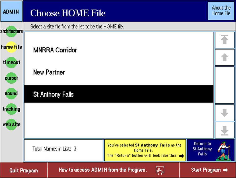 "We created a modular system designed to allow multiple organizations to participate, and grow as funding became available. Each new module can be customized by each funding partner. They can use the program's administrative section to set their topic to be the ""home"" file. This allows them to feature their part of the Mississippi River story – while still allowing users to access the entire program. Together the linked stories create a multi-faceted picture of the river and its impact.  This project was started almost 20 years ago. It has adapted and grown over the years, and has become the basis for exhibits still in use today."