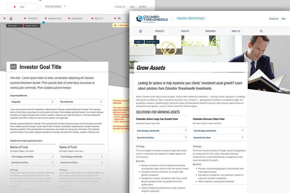 I helped to migrate the Advisor site to a new updated platform, with improved capabilities and updated branding. I created wireframes to define layouts and map pages for the the new site.