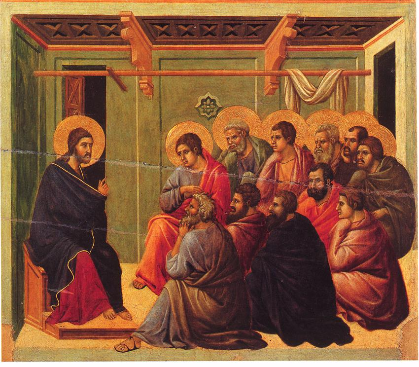 Jesus saying farewell to his eleven remaining disciples, from the Maesta by Duccio, 1308–1311.