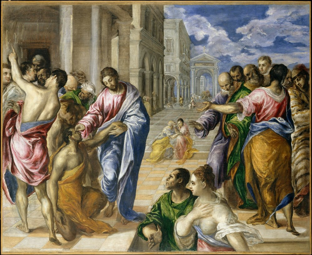 Christ Healing the Blind, El Greco (Domeniko Theotokopoulos), 1570,  47 x 57 1/2 in. (119.4 x 146.1 cm), Metropolitan Museum of Art, New York