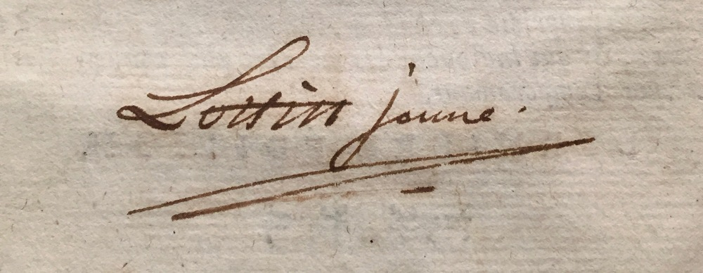 Signature of the publisher, [Antoine-Prosper] Lottin [le] jeune, A2v.