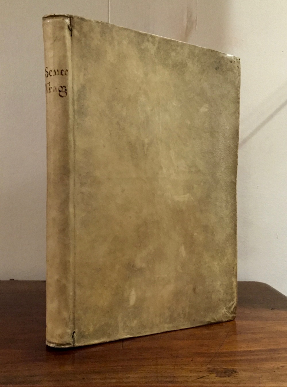 The binding; note the hand-written title and the visible binding thread.