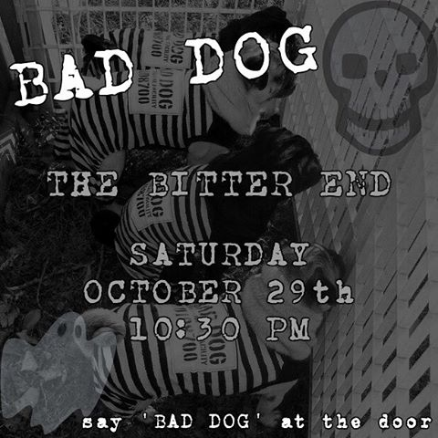 Come see us rock The Bitter End THIS SATURDAY for our Halloween weekend show 👻🎃🕸 #NYC #Music #BadDogMusic #Halloween #Spooky #BitterEnd #MusicVenue #LiveMusic #Gig #Musician #Musicians #Rockstar #Saturday #Woof
