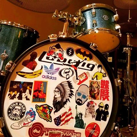 What's your favorite sticker? #Drums #Ludwig #Zildjian #Rock #Drummer #Band #Tour #Music #DW #Art #GetSchwifty