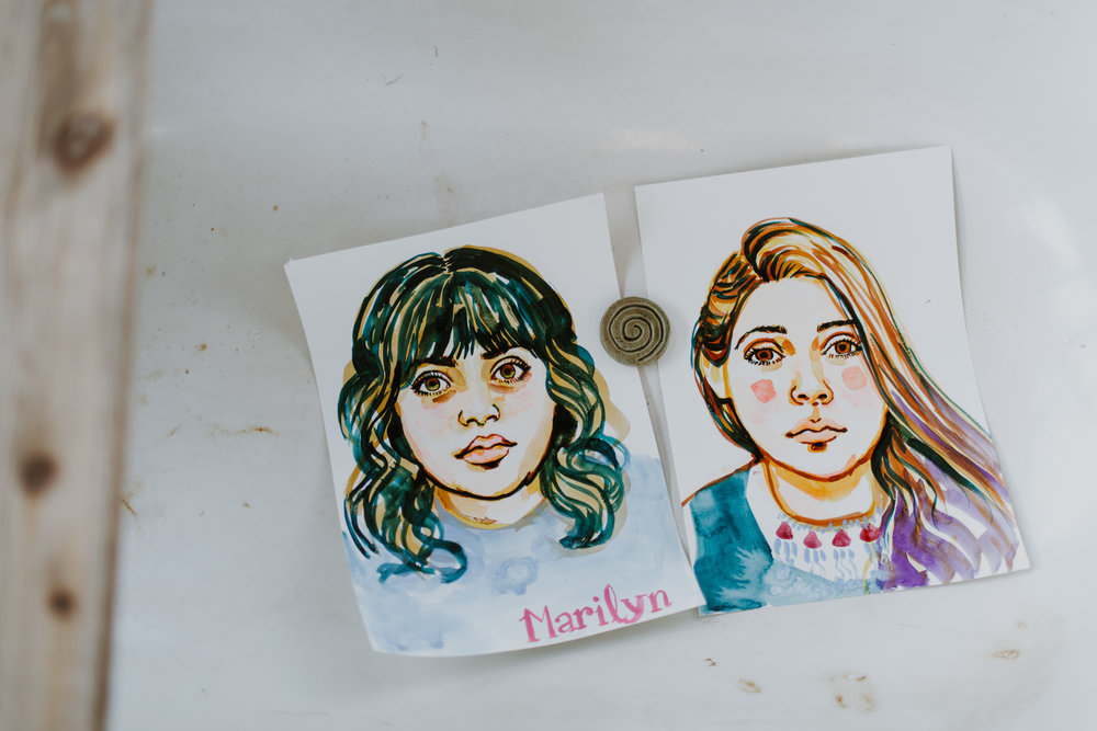 Portraits in watercolor by Chelsea