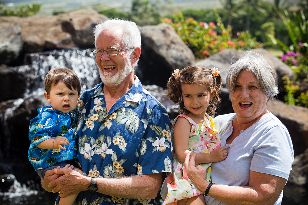 Paul and Suzanne with grandchildren Lucas and Leila.