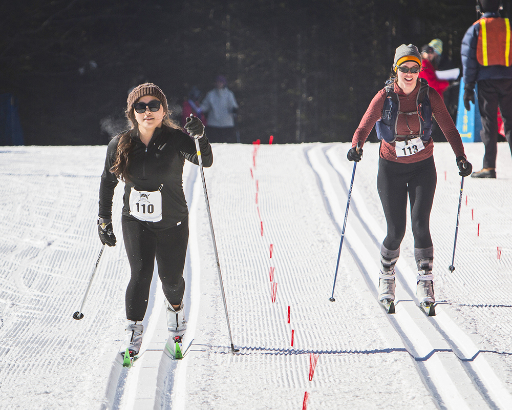 Skate (top) and classic skiers (above)   in the 2015 Lake Placid   Nordic Festival 12.5K Ski   Challenge at Mt. Van   Hoevenberg.   ORDA