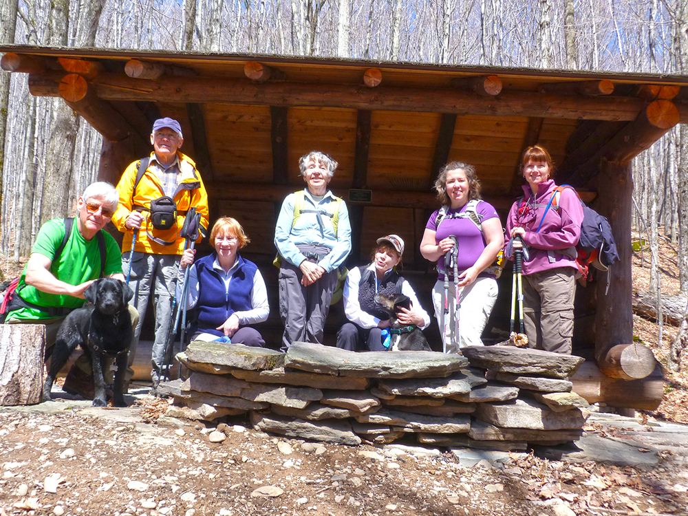 Group at leanto at Rochester Hollow in the Catskills.