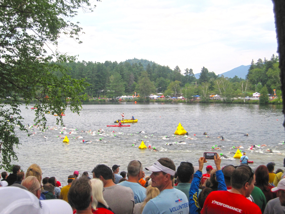 Mirror Lake swim at 2013 Ironman Lake Placid.  Mona Caron