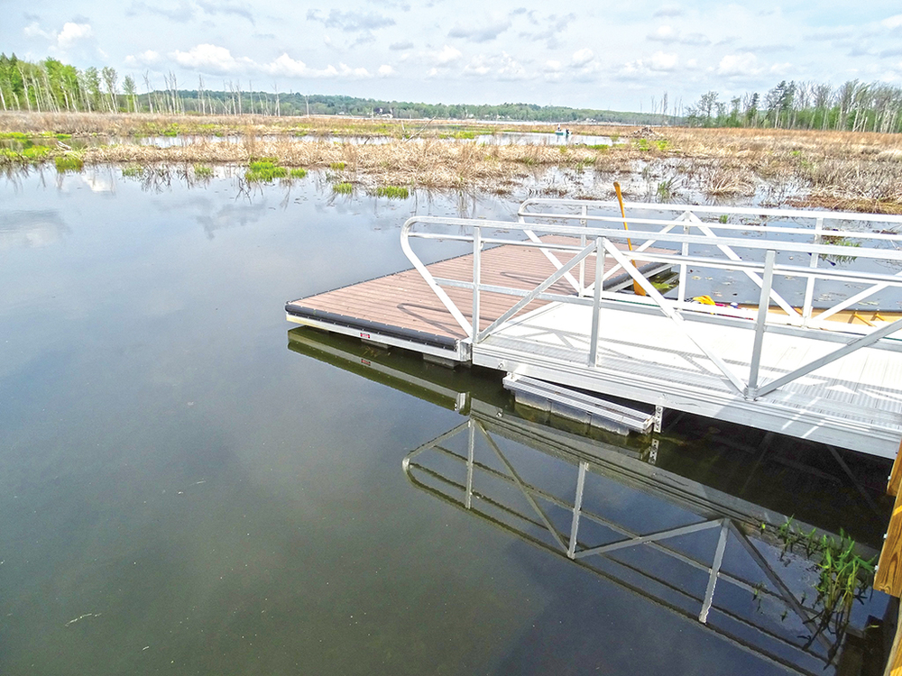 The launching dock at the end of the boardwalk on the Anthony Kill, Round Lake Preserve.  Alan Mapes