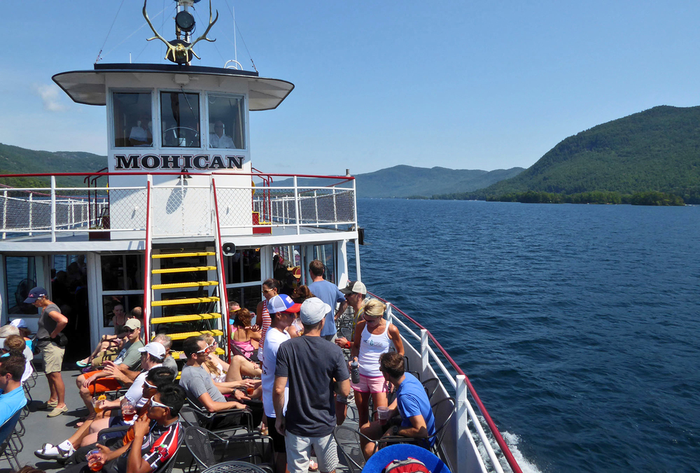 Enjoying the view of Lake George onboard the Mohican for the 2015 Ti Ride.   © Dave Kraus