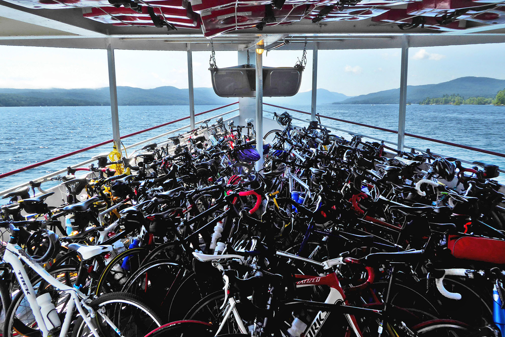 The foredeck of the Mohican is an orderly tangle of bikes at the 2015 Ti Ride.    © Dave Kraus