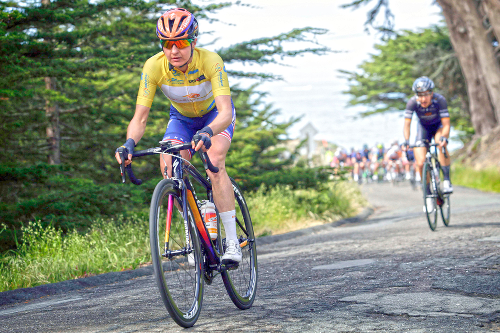 Megan wears the yellow leader jersey of 2016 Amgen Tour of California during stage three of the four-day race. Having won the first stage, she went on to win the overall.  Cor Vos
