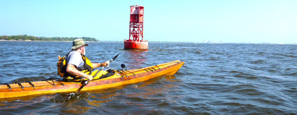 Mike Cavanaugh of Slingerlands paddling his Borealis XL kayak in Charleston Harbor, South Carolina, headed for Fort Sumter. Alan Mapes