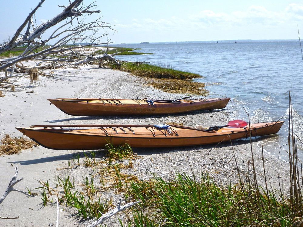 Kit kayaks from Pygmy Boats - Borealis XL (front) and Murrelet 4PD, Ft. George Inlet, Florida. Alan Mapes