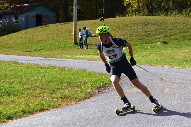 Brian Halligan competing in a rollerski biathlon race. Sean Halligan