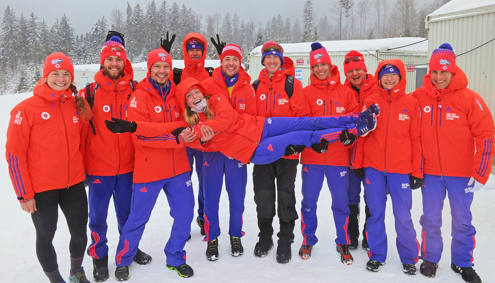 Getting a lift from her US Biathlon team at the 2016 IBU Cup in Arber, Germany, where she recorded career bests of 14th and 19th.