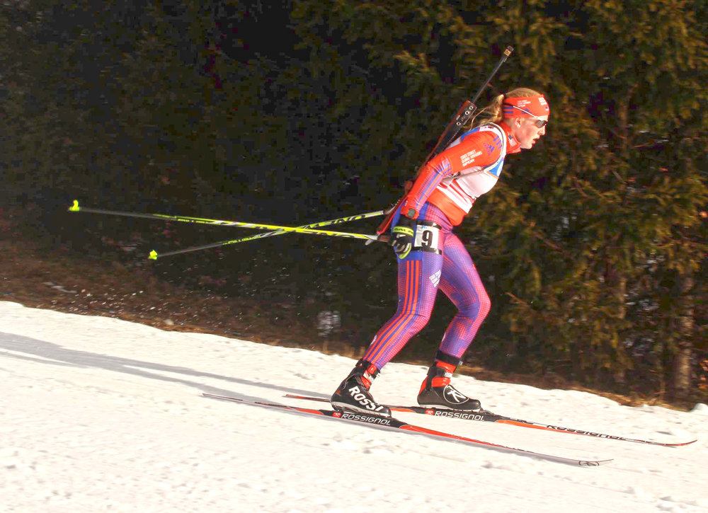 Racing at 2016 Biathlon Junior World Championships in Cheile Gradistei, Romania.   Claire Waichler