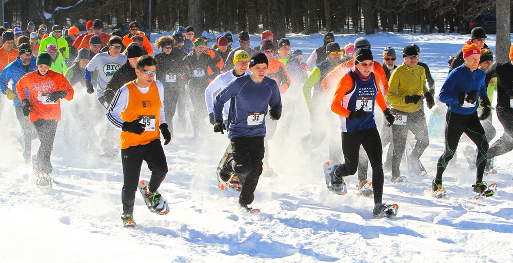 Start of the  2015 Saratoga Winterfest 5K Snowshoe Race  at Saratoga Spa State Park.  Brian Teague