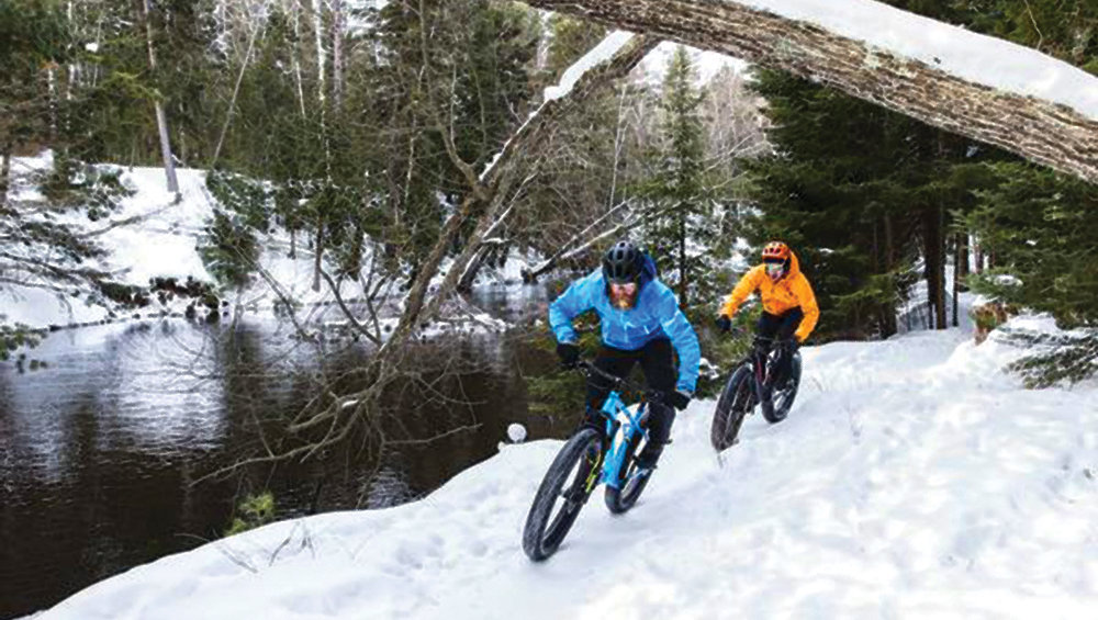 ◀ fat biking is Great exercise and fun on the snow!   Rick's Bike Shop