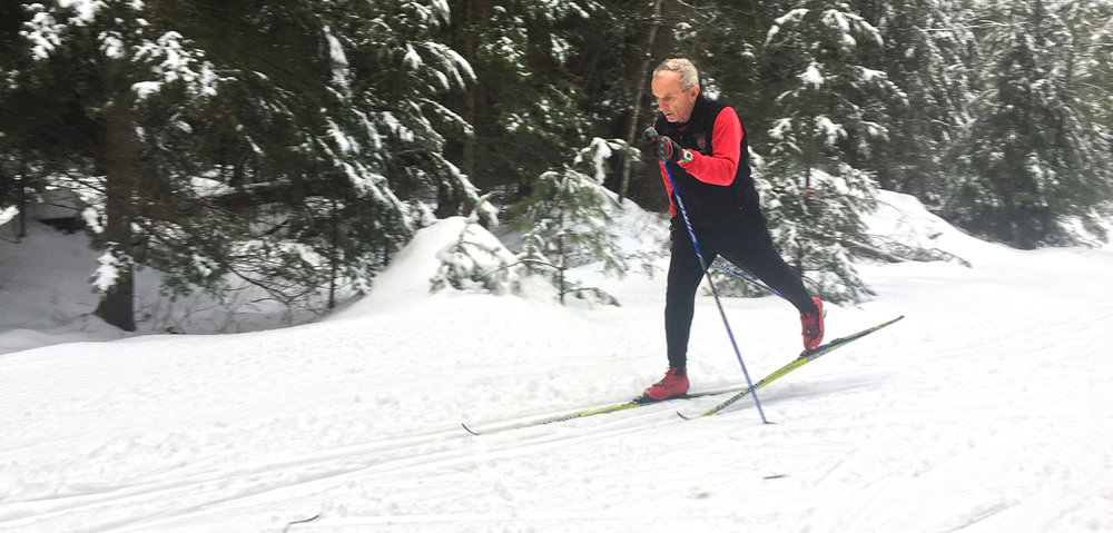 Norwegian Birkebeiner training at Lapland Lake in Northville.  Photo by Darryl Caron