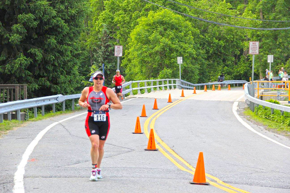 ▲ Laura Hotchkiss of Saratoga Springs at the 2016 Hudson Crossing Triathlon.  Mike Bielkiewic