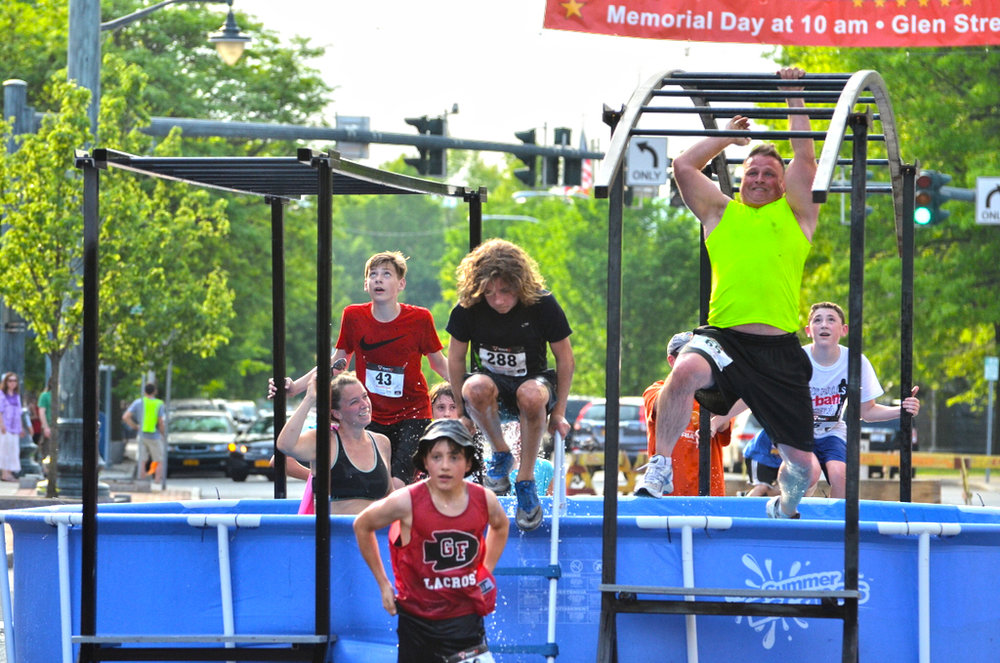Tackling obstacles at the Glens Falls Urban Assault.