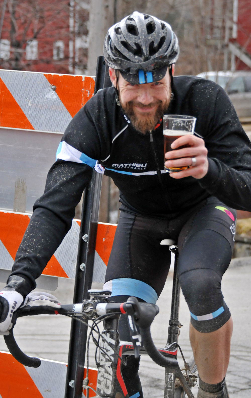 Brown's Brewing is a sponsor of the race and this rider is celebrating achieving his race finish goal.  © Dave Kraus/  krausgrafik.com