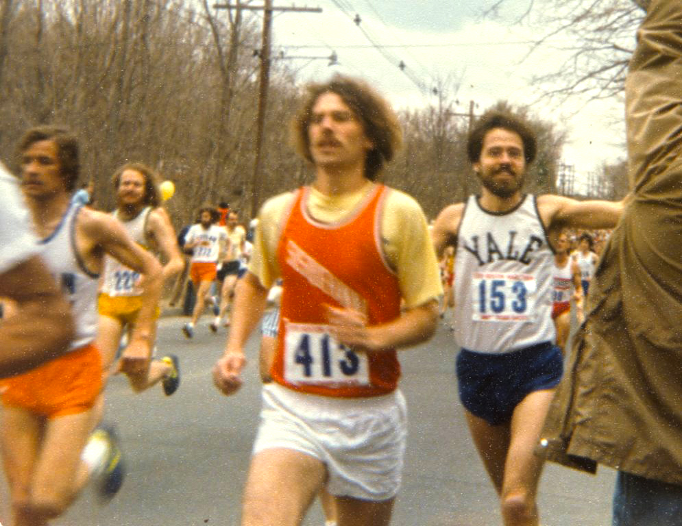 Dan (in the Yale jersey) a half mile from the start of the 1978 Boston Marathon.
