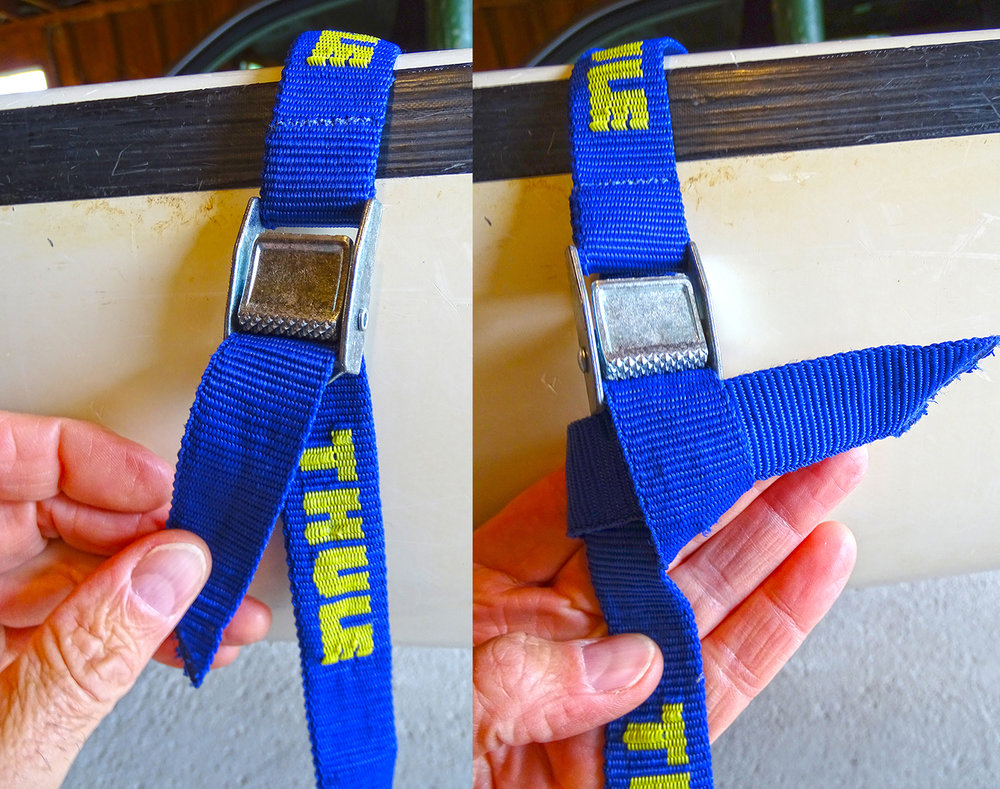Cam buckles on boat straps can slip. A simple knot insures the strap will not loosen. Alan Mapes