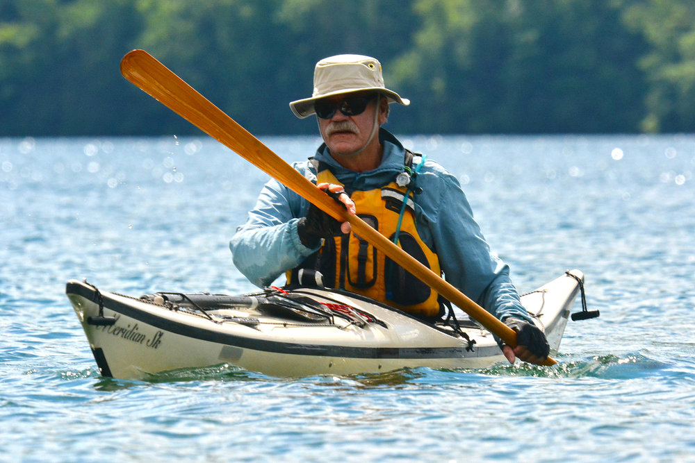 The author dressed for sun protection, landing at Rogers Rock Campground. Michael Kalin
